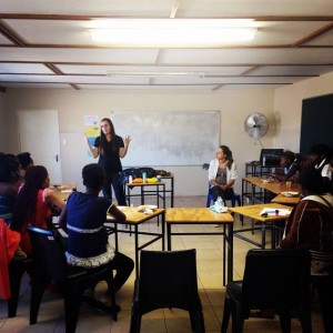 Sandy Echols teaching class for young pregnant ladies in Katutura, Namibia.